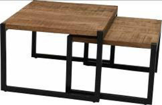 Afbeeldingen van CARMIN' Nevada Salontafel Set 60 cm Zwart Mangohout